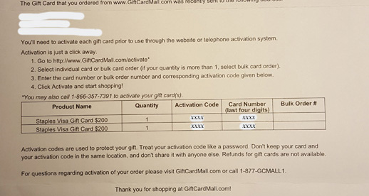 Gift Card Mall letter
