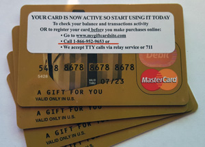 PIN number for MasterCard or Visa gift cards | Miles 2 Pixels