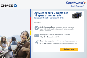 Earn 2 Southwest points per $1 spent at restaurants between July 15, 2016 – September 30, 2016