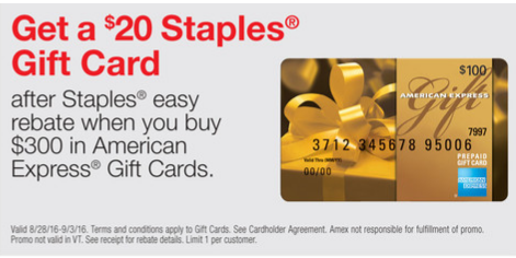$20 Rebate on $300 of Amex Gift Cards at Staples 8-28-2016