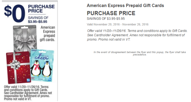$0 Purchase Price for American Express Prepaid Gift Cards at CVS. Offer valid 11/20/2016–11/26/2016